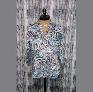 212 Collection Paisley Button Front Shirt